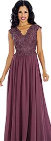 Annabelle 8630 Sleeveless Pleated Dress With Lace Vee Neckline Bodice