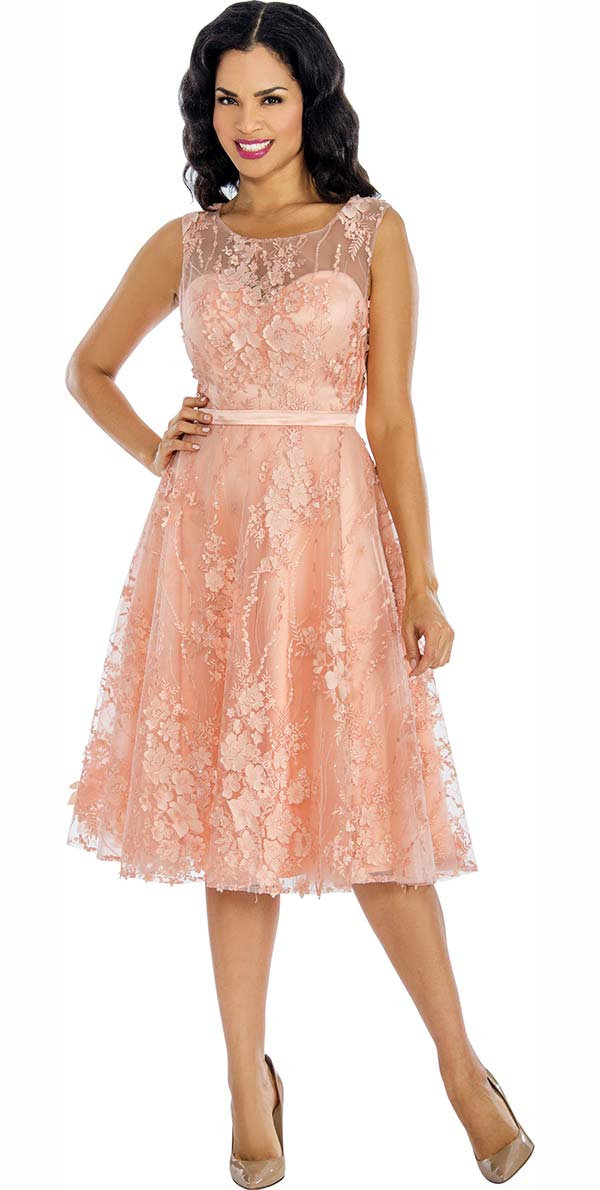 Annabelle 8631-Peach - Sleeveless Tulle Dress With Lace Applique