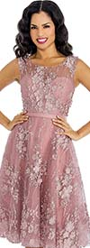 Annabelle 8631-Rose - Sleeveless Tulle Dress With Lace Applique