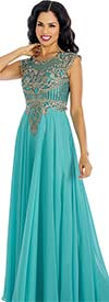 Annabelle 8634-Aqua - Sleeveless Pleated Dress With Lace Applique