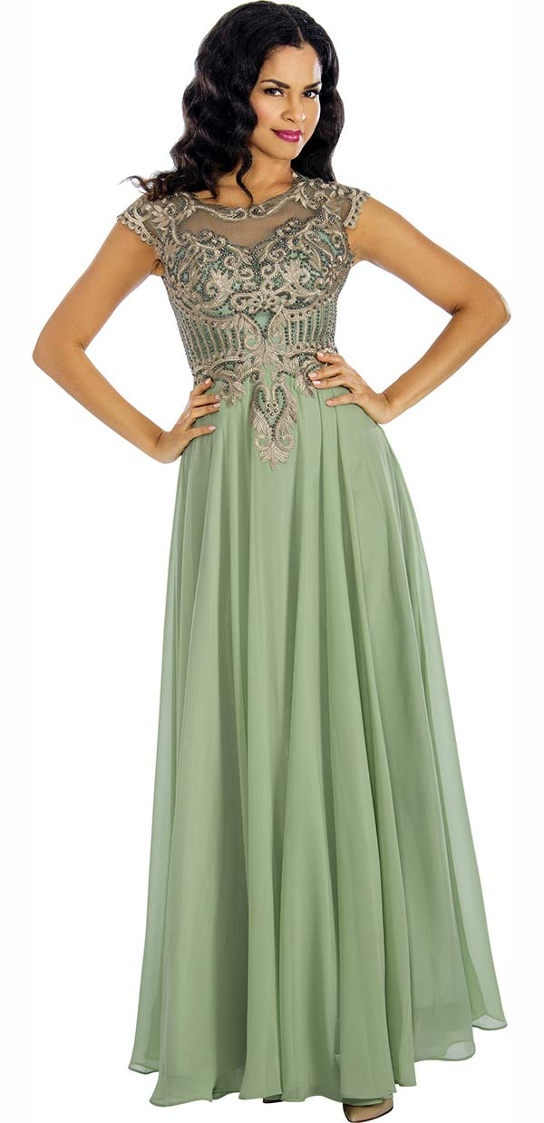 Annabelle 8634-Sage - Sleeveless Pleated Dress With Lace Applique