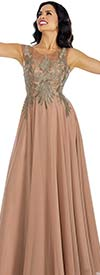 Annabelle 8635 Sleeveless Pleated Dress With Lace Applique