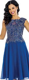 Annabelle 8636-Royal Sleeveless Tulle Dress With Lace Applique Bodice
