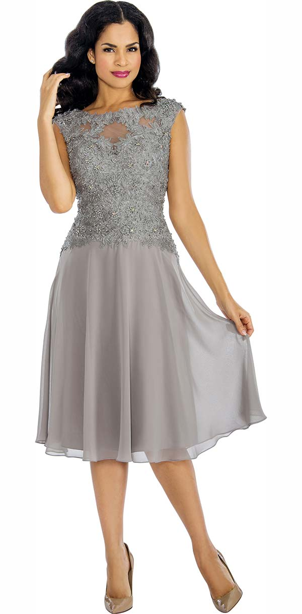 Annabelle 8636-Silver Sleeveless Tulle Dress With Lace Applique Bodice