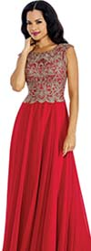 Annabelle 8637 Sleeveless Pleated Dress With Lace Applique Bodice