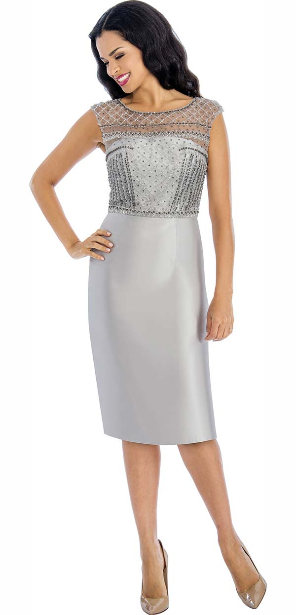 Annabelle 8641-Silver - Sleeveless Dress With Embellished Bodice