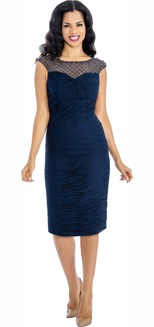 Annabelle 8646 Ruched Dress With Boat Neckline