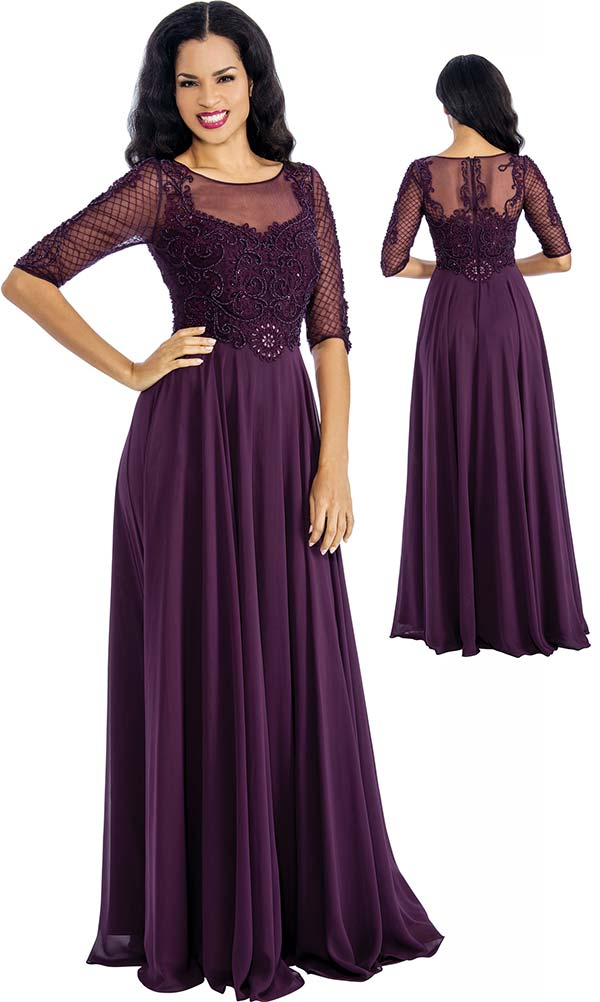 Annabelle 8649 Pleated Dress With Illusion Neckline & Lace Design Bodice