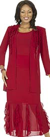 Aussie Austine 673 Double Georgette Skirt Suit With Ruffles