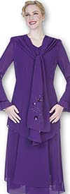 Aussie Austine 640 Double Georgette Suit With Cascading Collar Jacket