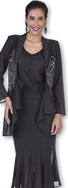 Aussie Austine 672 Double Georgette Skirt Suit With Flounce Hem Embellished Jacket