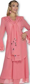 Aussie Austine 640 Double Georgette Pleated Skirt Suit With Flounce Sleeves