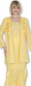 Aussie Austine 673 Double Georgette Skirt Suit Adorned With Ruffles