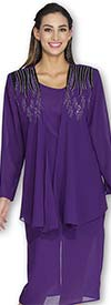 Aussie Austine 677 Double Georgette Skirt Suit With Embellished Jacket