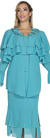 Aussie Austine 662 Double Georgette Flounce Hem Skirt Suit With Layered Capelet Style Jacket