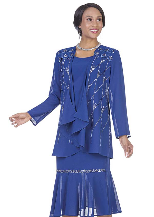 Aussie Austine 670 Double Georgette Skirt Suit With Pleated Flounce Hem & Scalloped Shoulders