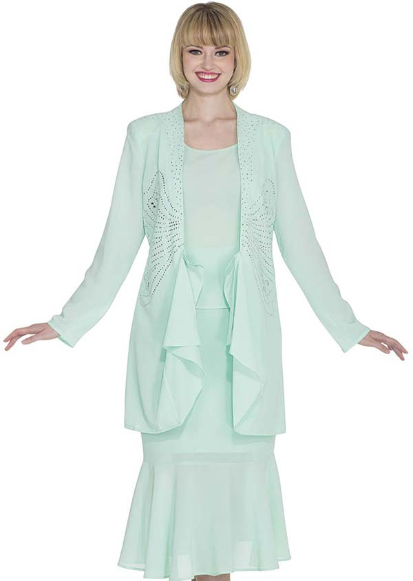 Aussie Austine 672 Double Georgette Skirt Suit With Flounce Hem & Embellished Jacket
