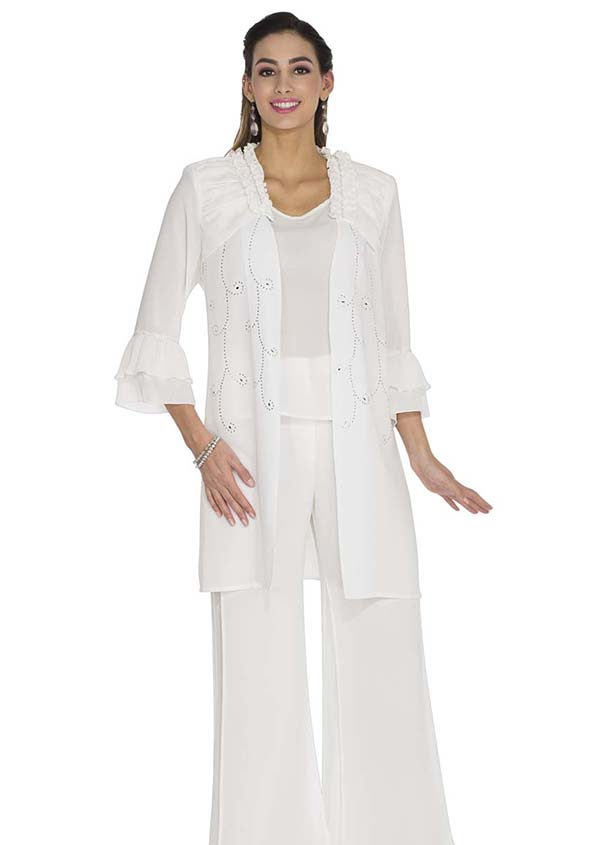 Aussie Austine 675 Double Georgette Pant Suit With Layered Bell Cuff Sleeves