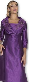 Clearance Aussie Austine 1030 Twill Satin Dress With Applique Accents