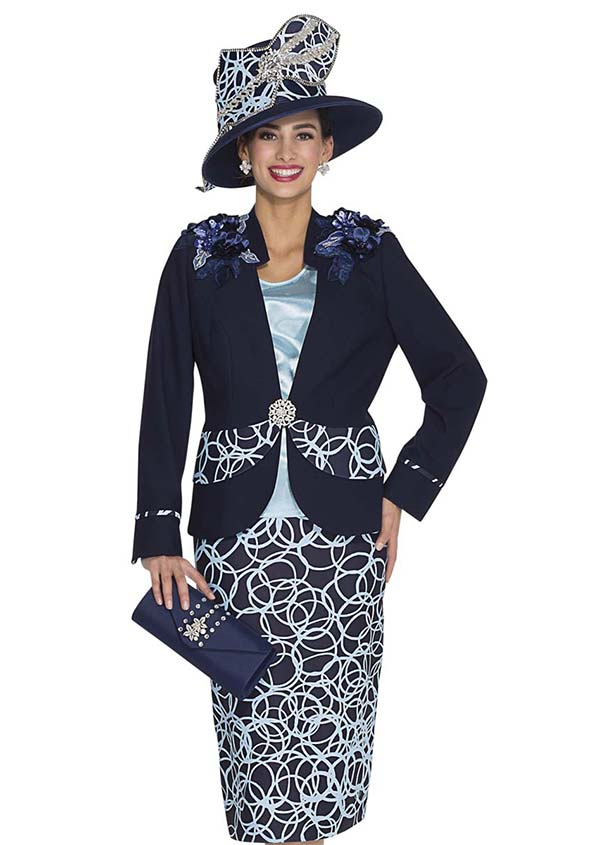 Aussie Austine 4857 Skirt Suit With Looped Print & Flower Shoulder Adornments