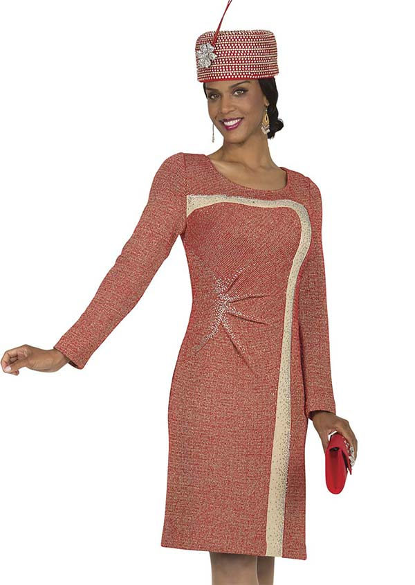 Aussie Austine 4871 Knit Dress With Bunched Accent & Contrasting Inset