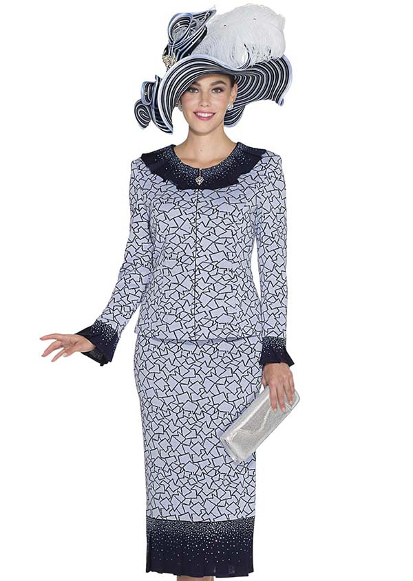 Aussie Austine 4961 Knit Pleated Flounce Skirt Suit With Shatter Print