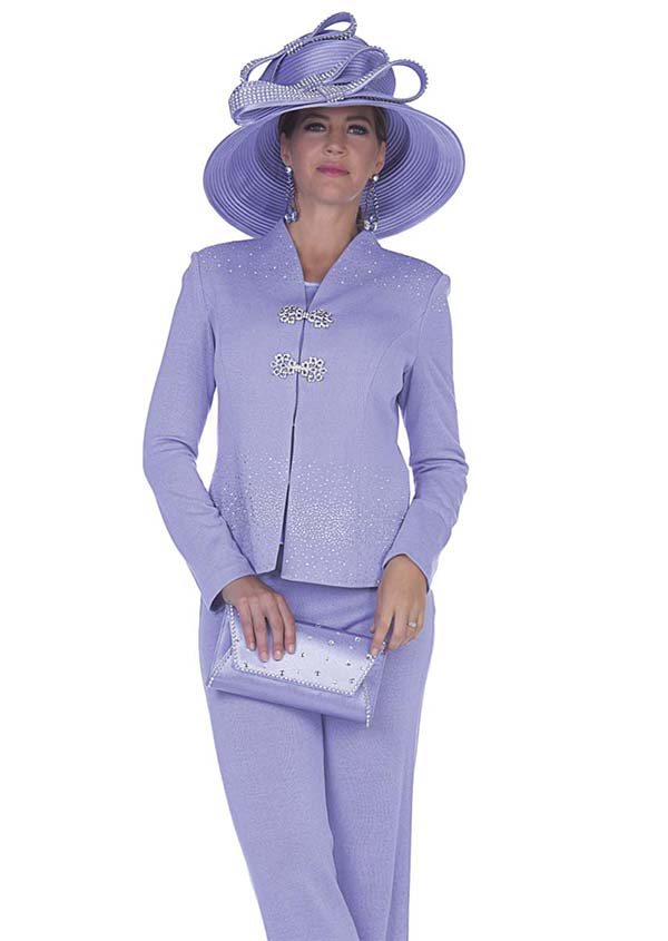 Aussie Austine 5052 Exclusive Knit Womens Pant Suit With Swan-Necked Collar