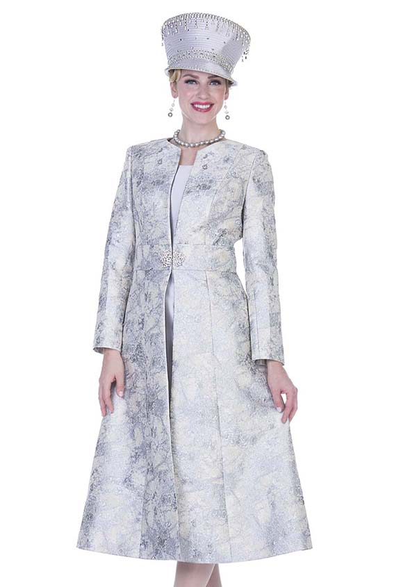 Aussie Austine 5109 Long Metallic Embossed Brocade Coat & Dress Suit