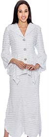 BC - BC1012 Womens Ruffle Design Skirt Suit With Sharkbite Hems