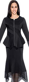 BC - BC1162-Black Cut-Out Design Skirt Suit With Sharkbite Hems