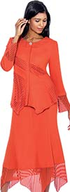 BC - BC1162-Orange Cut-Out Design Skirt Suit With Sharkbite Hems