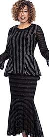 BC - BC1172 Cut Out Design Long Flounce Skirt Suit With Peplum Top