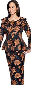BC - BC1192 Womens Floral Skirt Suit With Ruffled Collar Peplum Jacket