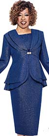 BC - BC1213 Womens Skirt Suit With Layered Peplum Jacket & Bell Cuffs