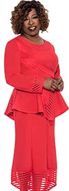 Clearance BC - BC1052-Red - High-Low Peplum Skirt Suit With Striped Cut-Out Design