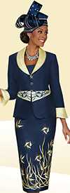 Ben Marc Blowout 47900 Womens Printed Skirt Suit With Bell Cuffs & Shawl Lapel