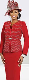Ben Marc Blowout 47960 Womens Knit Church Suit With Embellished Chevron Pattern