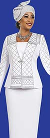 Ben Marc Blowout 47962 Knit Skirt Suit With Embellished Pattern Design