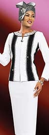 Ben Marc Blowout 47963 Knit Skirt Suit With Vertical Striped Pattern Design