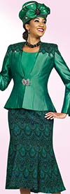 Ben Marc Blowout 47970 Flared Skirt Suit With Shoulder Pattern Adornment