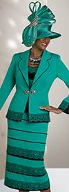 Ben Marc Blowout 47843 Tiered Style Skirt Suit With Rounded Notch Lapel Jacket