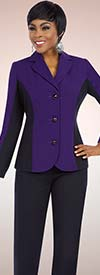 Ben Marc Executive 11578 Notch Lapel Womens Pant Suit With Two Tone Jacket