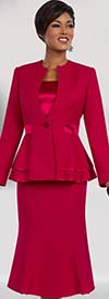 Ben Marc Executive 11583 Womens Flared Skirt Suit With Peplum Jacket