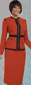 Ben Marc Executive 11584 Womens Skirt Suit With Contrasting Trim