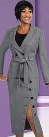 Clearance Ben Marc Executive 11585 Buttoned Skirt Suit For Women With Belt