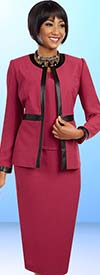 Ben Marc Executive 11588 Three Piece Womens Skirt Suit With Contrasting Trim