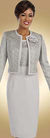 Ben Marc Executive 11603 Sheath Dress Suit With Textured Contrast & Flower Adornment