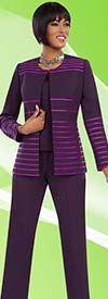 Ben Marc Executive 11613 Pant Suit For Women With Striped Jacket