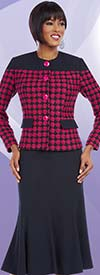 Ben Marc Executive 11620 Flared Skirt Suit With Checked Patten Jacket
