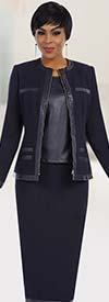 Ben Marc Executive 11623 Straight Skirt Suit With Leather Look Camisole & Trims